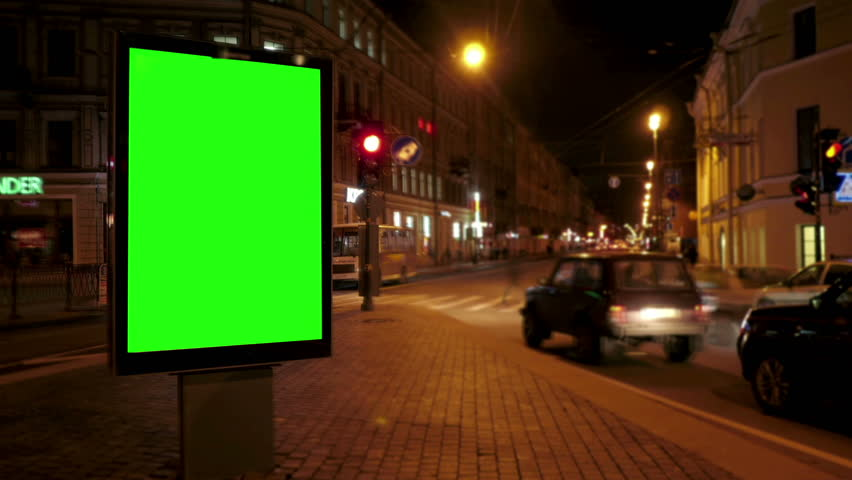 A Billboard with a Green Screen on a Busy Night Street.Time Lapse. | Shutterstock HD Video #17630917