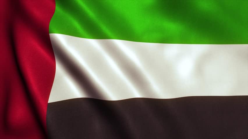 UAE Flag of Dubai, Abu Dhabi and the United Arab Emirates. Seamless Looping Animation. 4K High Definition Video   Shutterstock HD Video #17634889