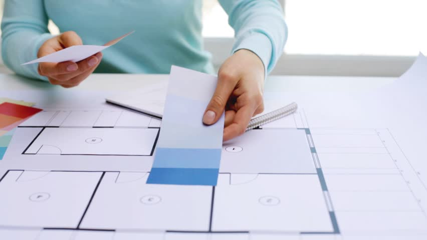 Business architecture interior design and people concept woman business architecture design and people concept woman with house blueprint and swatches choosing malvernweather Images