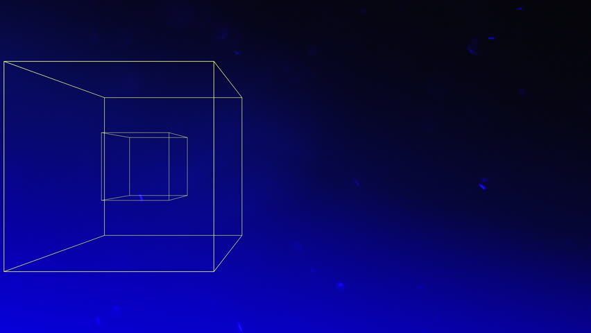 Two floating three-dimensional cubes rotate against a blue background as dust particles move throughout the animation | Shutterstock HD Video #17647597