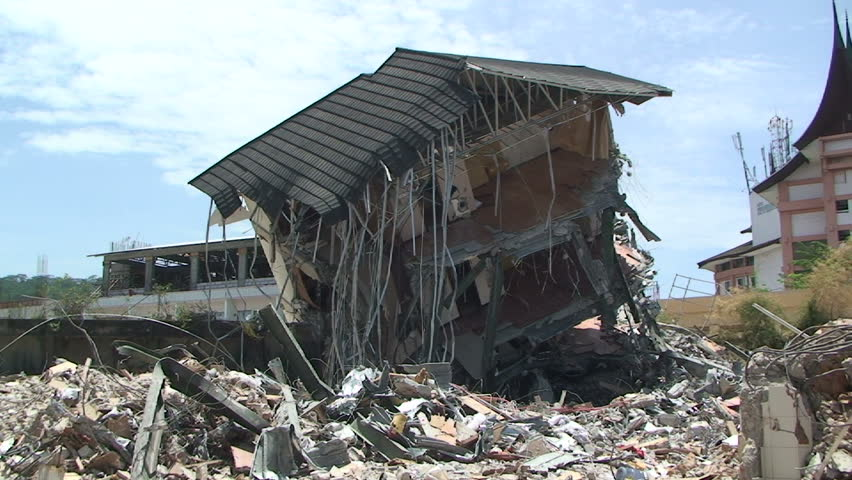 Rubble And Debris After Large Indonesian Earthquake - HD stock footage clip
