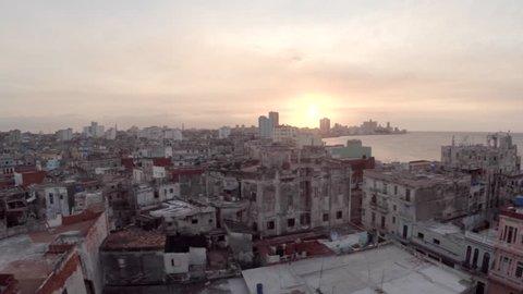 Aerial fly over Malecon Ocean road in Havana Cuba (March 01, 2014 - Havana, Cuba)