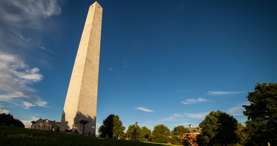 Boston, Massachusetts, USA - Bunker Hill Monument with moving shadow at sunny day with blue sky and clouds - Timelapse with pan right to left