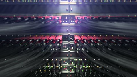 Modern network switch with cables. repeately move server. 3d rendering