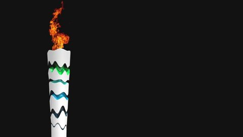 Olympic Games Torch on the Black Background