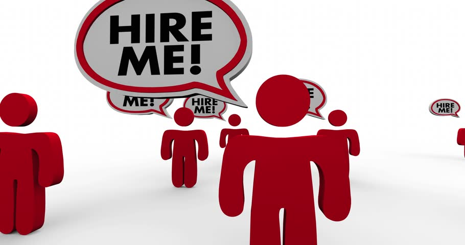 Hire Me Job Candidates Interview Speech Bubble People 3d Animation