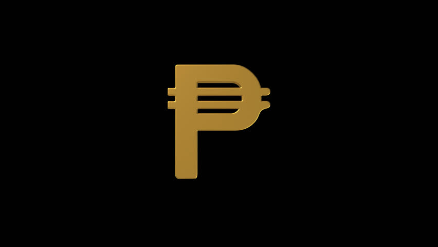 Gold Peso Currency Symbol With Alpha Channel Royalty Free Video