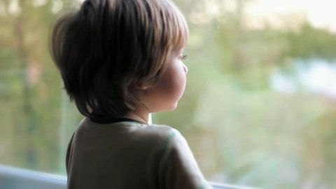 Caucasian  cute baby boy kid toddler child looking out the window