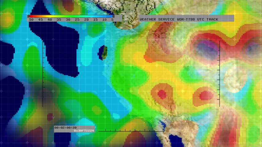 Weather Radar Digital Satellite Map Western US Stock Footage Video - Digital satellite map