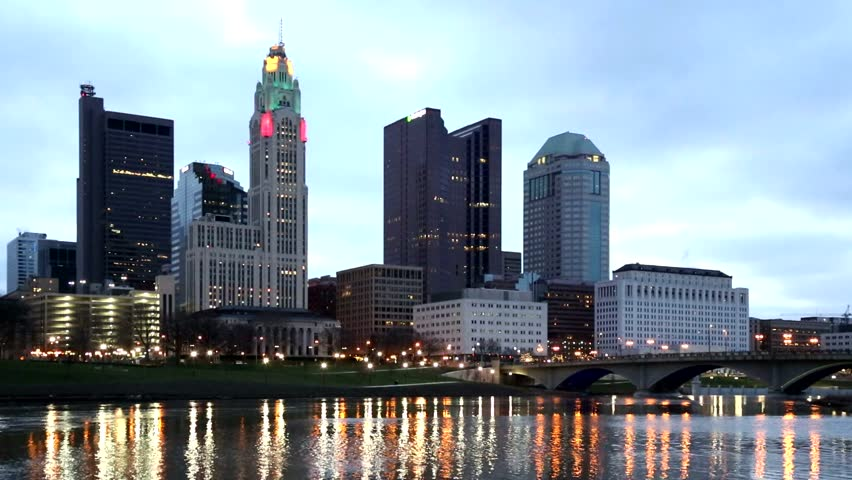 Scioto River and Columbus Ohio skyline at John W. Galbreath Bicentennial Park at dawn