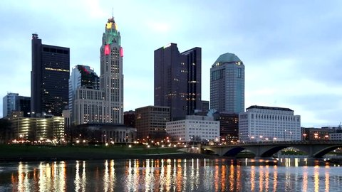 Scioto River and Columbus Ohio skyline at John W. Galbreath Bicentennial Park at dawn