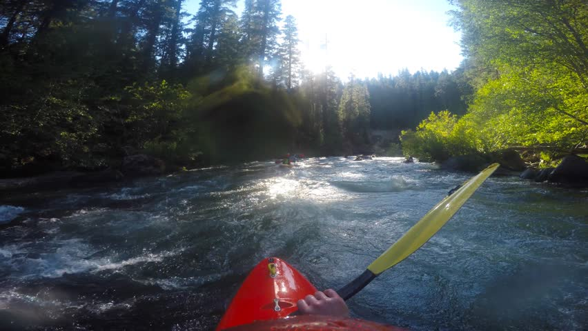 Man kayaking Natural Bridge section of the Rogue River in Southern Oregon | Shutterstock HD Video #17779267