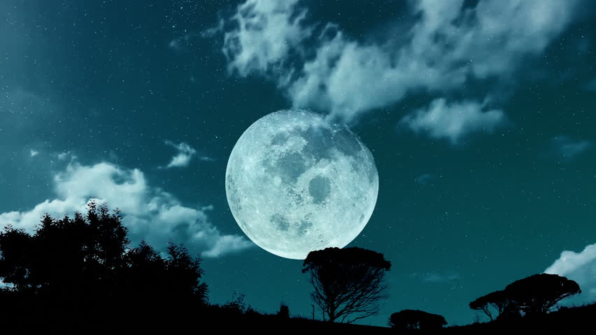 Big full moon at night, clouds move. | Shutterstock HD Video #17784967