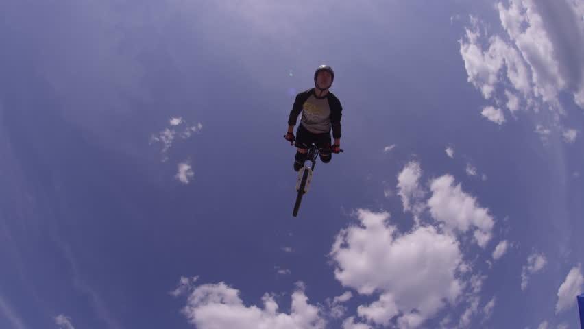 Mountain Bike Extreme Sports - Back Flip Against Sky
