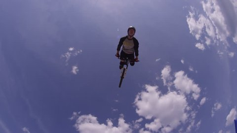 Mountain Bike Extreme Sports - Back Flip Against Sky