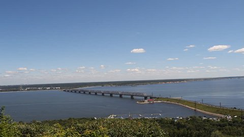 Imperial bridge across the Volga. Ulyanovsk, Russia. Landscape with views of the river and the old bridge Russia.