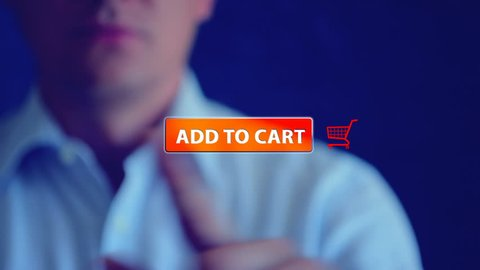 """Button """"ADD TO CART"""" orange and shopping cart icon, web elements for web store. Web icon and template for online shopping theme. The person touched a finger to the screen, click button add to cart."""