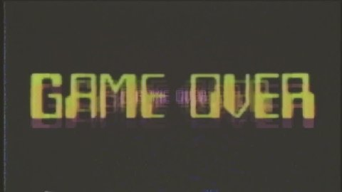 A game over screen, treated as it's from an old VHS cassette tape. Arcade mosaic retro style.