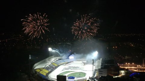 Fireworks over stadium