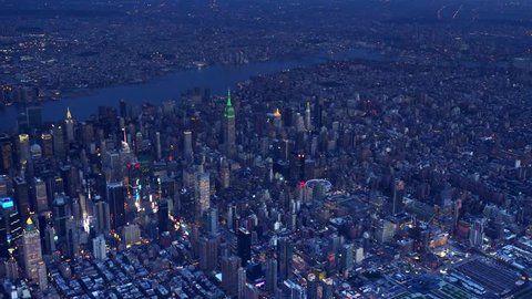New York City NIGHT AERIAL EAST dusk (8;30) 2016, clean photo plane, no plastic windows.