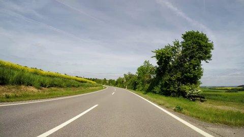 4K POV video footage of driving in region of the Eifel in Germany