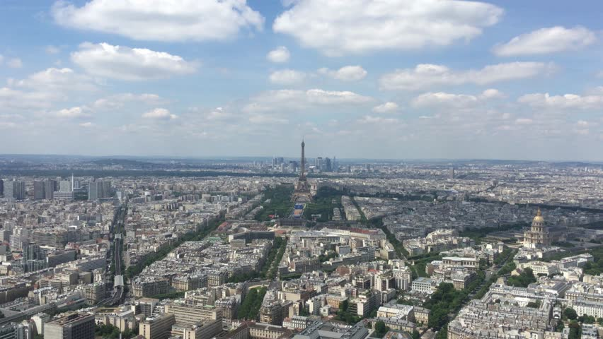 Aerial View From Paris And Eiffel Tower, France 4K. The Montparnasse Tower Panoramic Observation Deck has the most beautiful view of Paris - 4k | Shutterstock HD Video #17875027