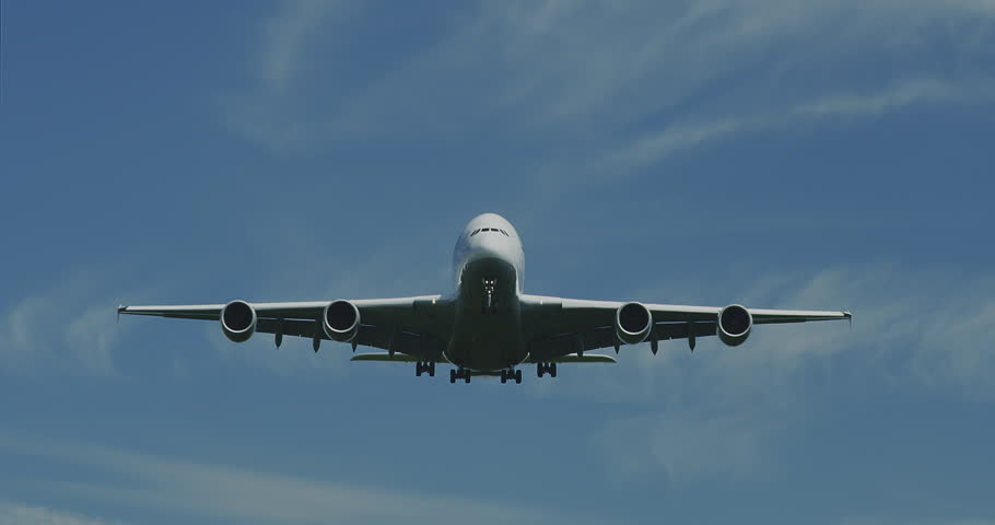 Airbus A380 is landing