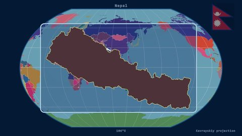 Zoomed-in view of a Nepal outline with perspective lines against a global admin map in the Kavrayskiy VII projection