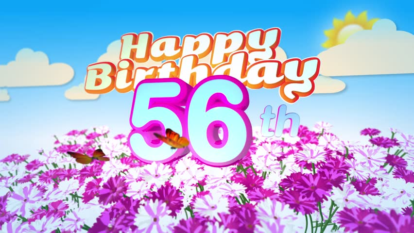 Happy 56th Birthday Card With A Field Of Flowers While Two Little Butterflys Circulating Around The Logo Twenty Seconds Seamless Looping Animation