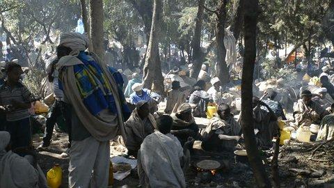 Lalibela, Ethiopia - January 5, 2015: Christian pilgrims gathering and waiting for ceremony in Lalibela on January 5, 2015 in Lalibela, Ethiopia.