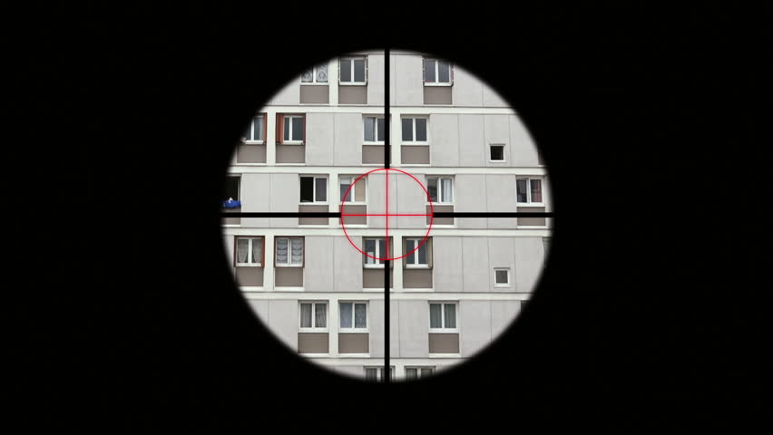 Sniper Rifle Aiming Person In Window, Telescopic Sight. A sniper rifle is a man-portable, high precision, shoulder-fired rifle designed to ensure more accurate shooting at longer ranges.