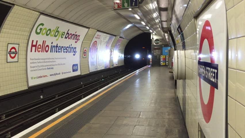 LONDON - JUNE 18: A London Underground Train pulls into Warren Street Station on June 18, 2016 in London, UK.