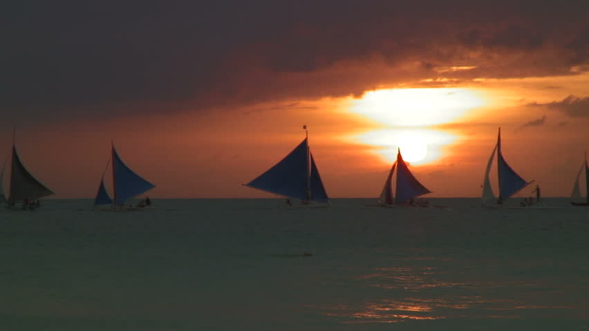Scenery At Sunset Time Boracay, Philippines
