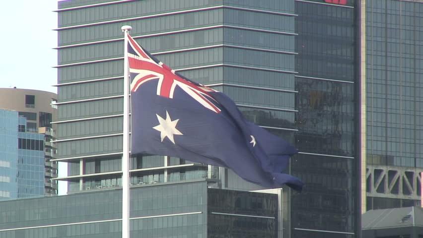 SYDNEY, AUSTRALIA - CIRCA 2011: The Sydney skyline and Australian flag
