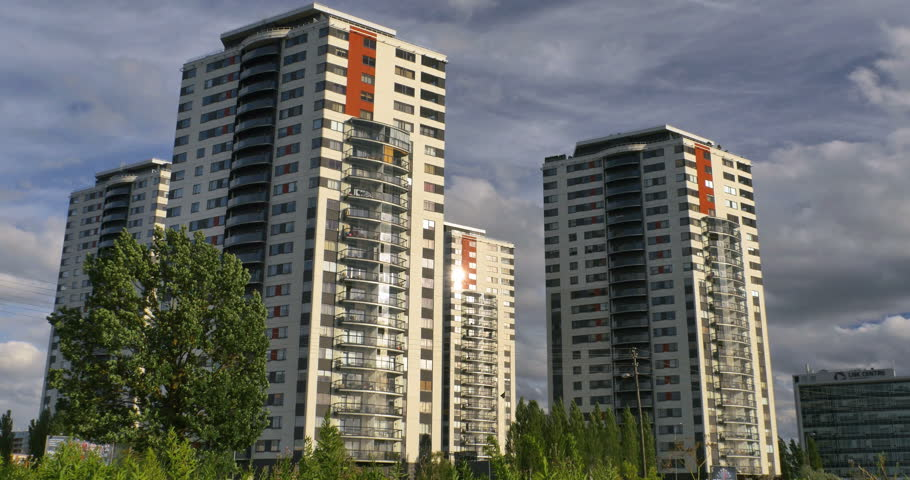 Apartment Buildings. Multistoried Modern And Stylish Living Block Of Flats.  4k   4K Stock