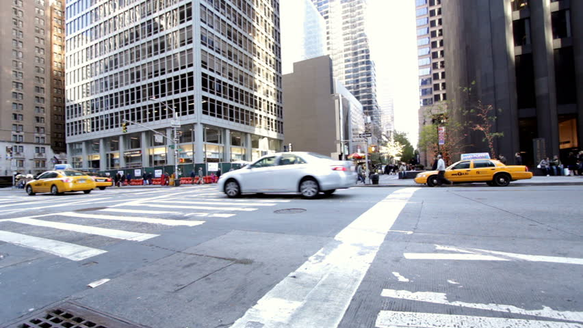 NEW YORK CITY, NY - NOVEMBER 24: New York City Intersection wide angle during Thanksgiving Day on November 24, 2011 in New York City, New York.