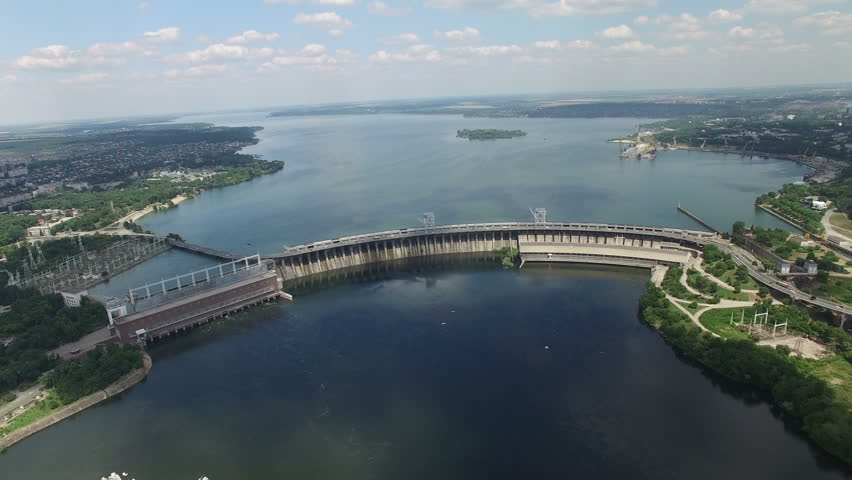 Flying over the hydroelectric power station on the Dnieper River