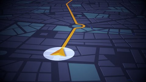 GPS Navigation, Localization. Seamless loop. 3D view. 4k, Ultra HD, UHD.