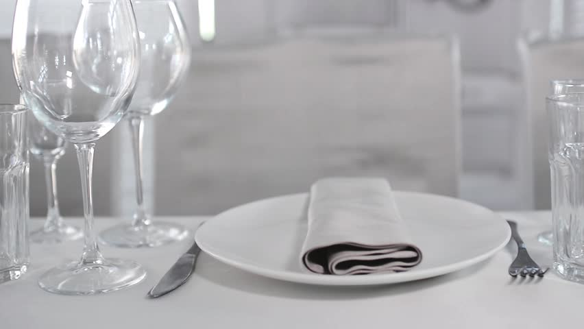 Pan View of Luxury Restaurant Table Setting. Beautiful Wedding Table