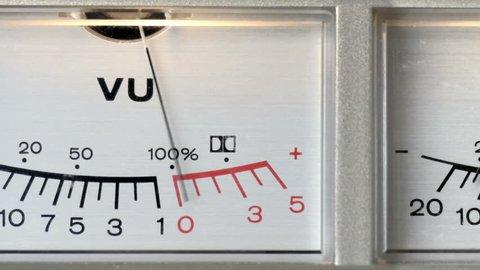 Audio VU sound meters studio equipment, dolly pan loop