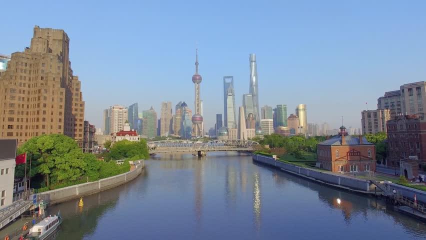 Aerial View,The Bund in shanghai,skyline and huangpu river | Shutterstock HD Video #18099637