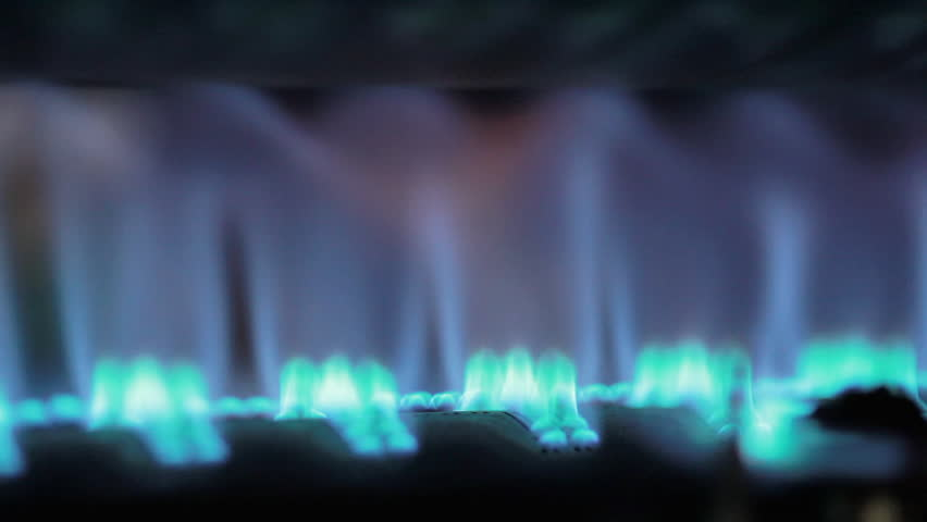 CU Blue flame on gas stove burner / Humlebaek, Denmark(Humlebaek, Denmark - November, 2015)
