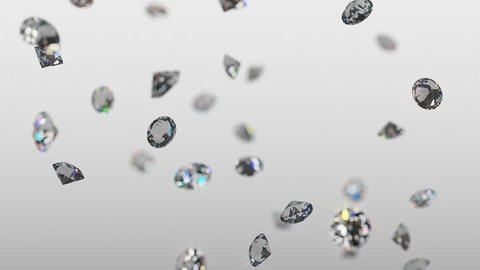 Realistic brilliant diamonds raining down in slow motion with a soft focus and light gray background