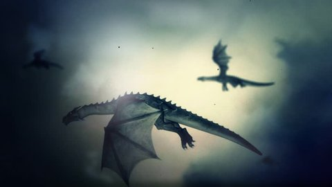 A Pack of Dragons Flying Through a Lightning Storm