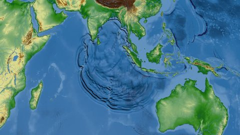 Tsunami waves propagation in Sumatra-Andaman 2004 against a global physical map in the Kavrayskyi VII projection