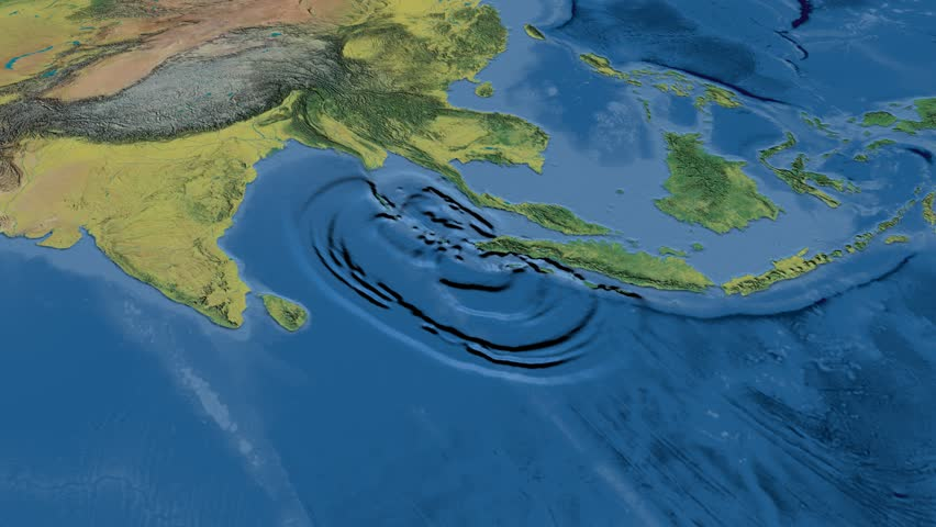 Tsunami waves propagation in Sumatra-Andaman 2004 against a global topographic map in the Kavrayskyi VII projection