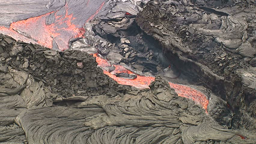 Aerial of lava flow, Kilauea Volcano, Big Island, Hawaii