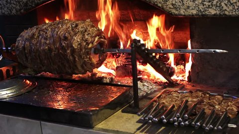 Traditional Turkish Cag Kebap. Traditional Turkish kebab on barbecue grill.