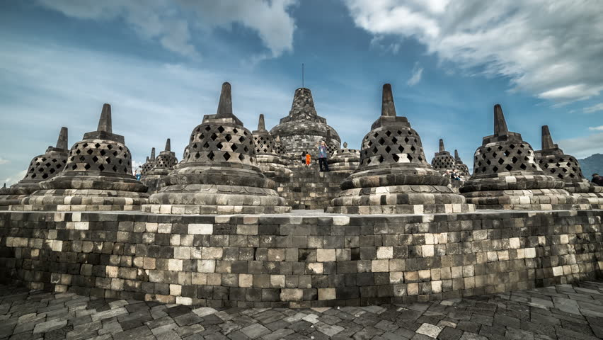 Stupas in Borobudur Temple, Central Java, Indonesia. 4K Timelapse - Java, Indonesia, June 2016.
