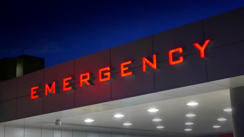 4K Hospital Building Large Red Emergency Room Entrance Sign
